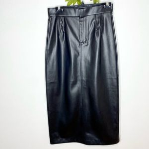 Zara High-Rise Faux Leather Midi Skirt